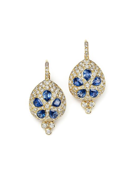 Temple St. Clair | 18k Gold Sea Biscuit Earrings With Blue Sapphire And Diamonds | Lyst