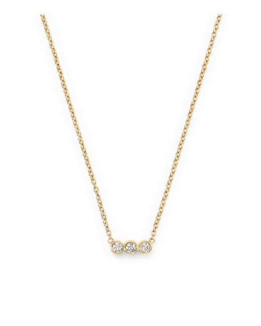 Zoe Chicco | Metallic Diamond Bezel Pendant Necklace | Lyst