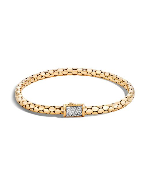 John Hardy | Metallic 18k Yellow Gold Dot Slim Chain Bracelet With Diamonds | Lyst