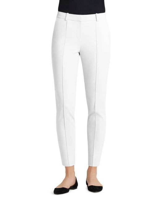 Lafayette 148 New York - White Seamed Skinny Ankle Pants - Lyst