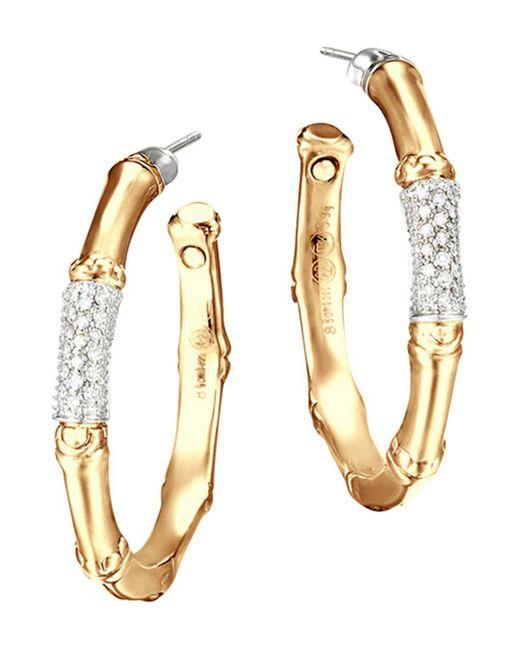 John Hardy - Metallic Bamboo 18k Gold And Diamond Pavé Medium Hoop Earrings - Lyst