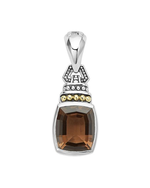 Lagos - Metallic 18k Gold And Sterling Silver Caviar Color Pendant With Smoky Quartz - Lyst