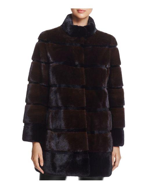 Maximilian | Black Stand Collar Mink Fur Coat | Lyst
