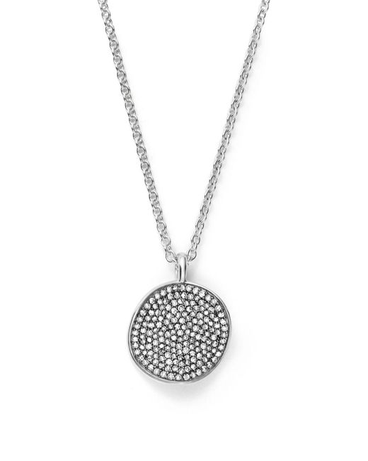 Ippolita - Metallic Sterling Silver Glamazon® Stardust Small Pavé Disc Necklace With Diamonds - Lyst