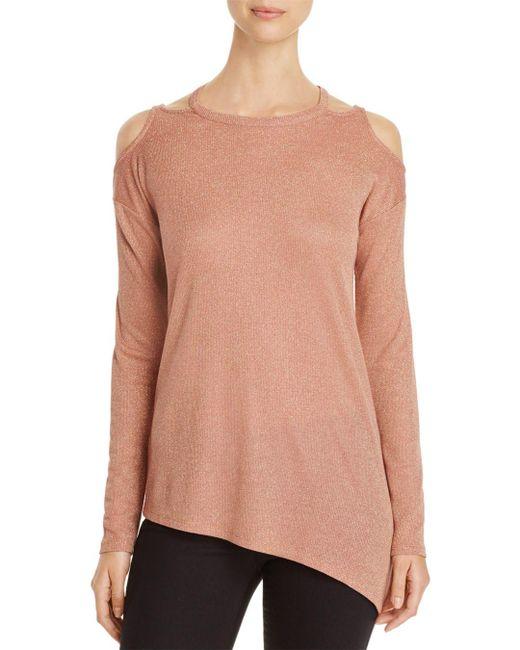 Love Scarlett - Pink Metallic Cold Shoulder Sweater - Lyst