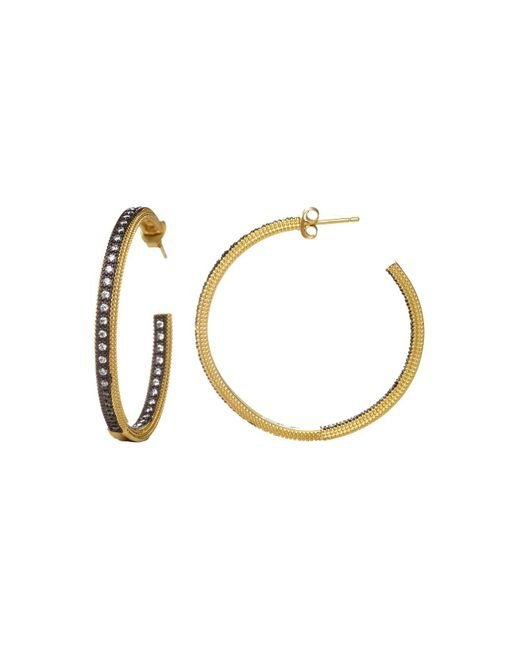 Freida Rothman | Metallic Classic Pavé Hoop Earrings | Lyst