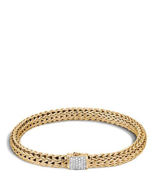 John Hardy - Metallic Classic Chain 18k Gold And Diamond Pave Small Bracelet - Lyst