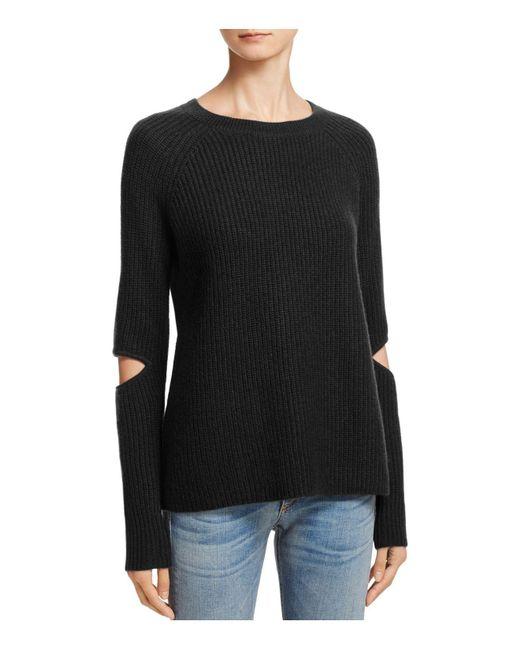 Aqua | Black Cashmere Slash-elbow Sweater | Lyst