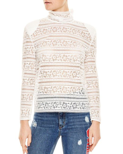 Sandro - White Hamia Floral-lace Top - Lyst