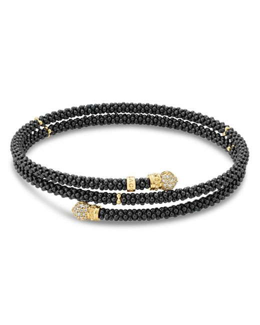 Lagos - Metallic Gold & Black Caviar Collection 18k Gold & Diamond Coil Bracelet - Lyst
