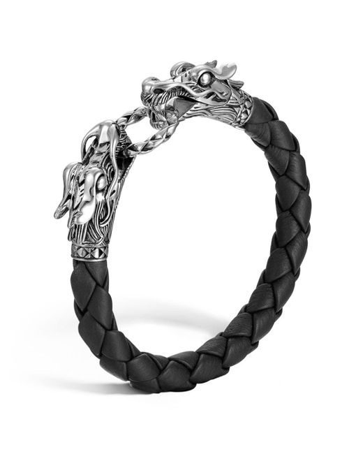 "John Hardy - ""naga"" Black Woven Leather Dragon Bracelet - Lyst"
