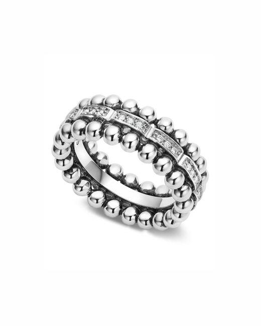 Lagos - Metallic Sterling Silver Caviar Spark Diamond Band - Lyst