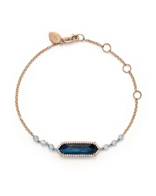 Meira T | Blue Labradorite And Onyx Bracelet With Diamonds | Lyst