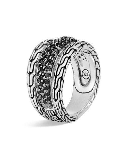 John Hardy - Metallic Sterling Silver Classic Chain Black Sapphire & Black Spinel Ring - Lyst