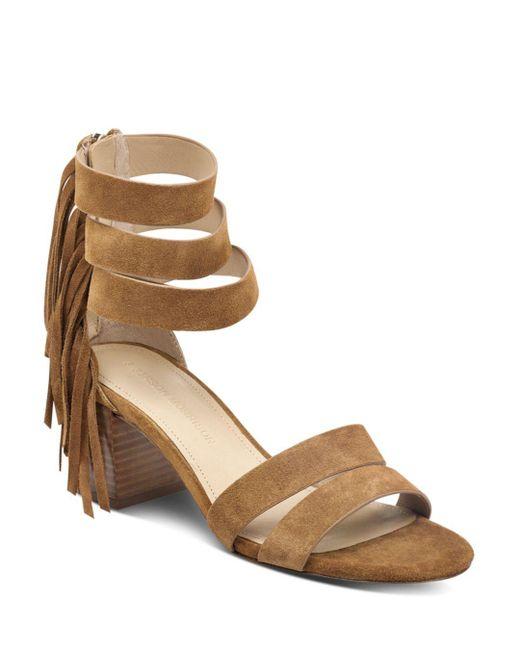 Sigerson Morrison - Brown Women's Ran Fringed Suede Block-heel Sandals - Lyst