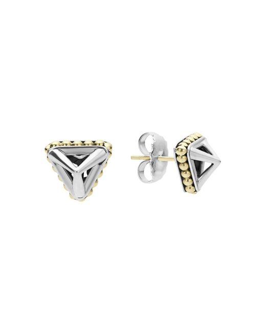 Lagos - Metallic 18k Gold And Sterling Silver Pyramid Stud Earrings - Lyst