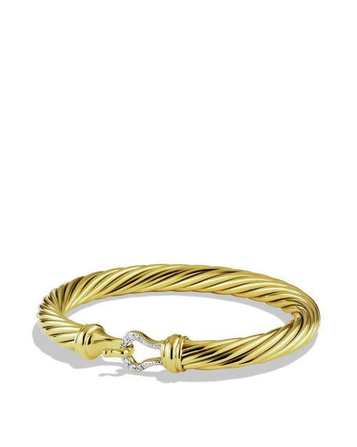 David Yurman - Yellow Cable Buckle Bracelet With Diamonds And Gold - Lyst