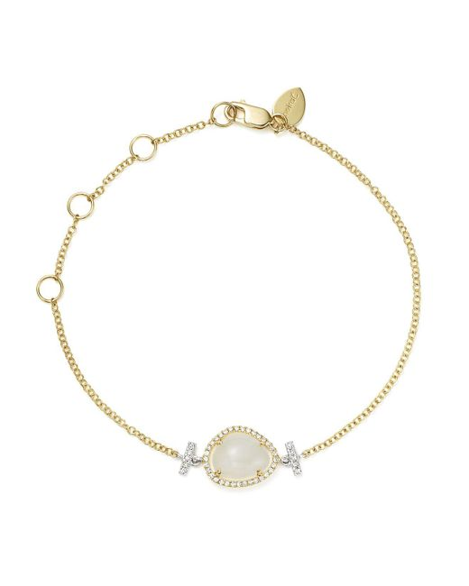 Meira T | Metallic 14k White And Yellow Gold Rainbow Moonstone And Diamond Bracelet | Lyst