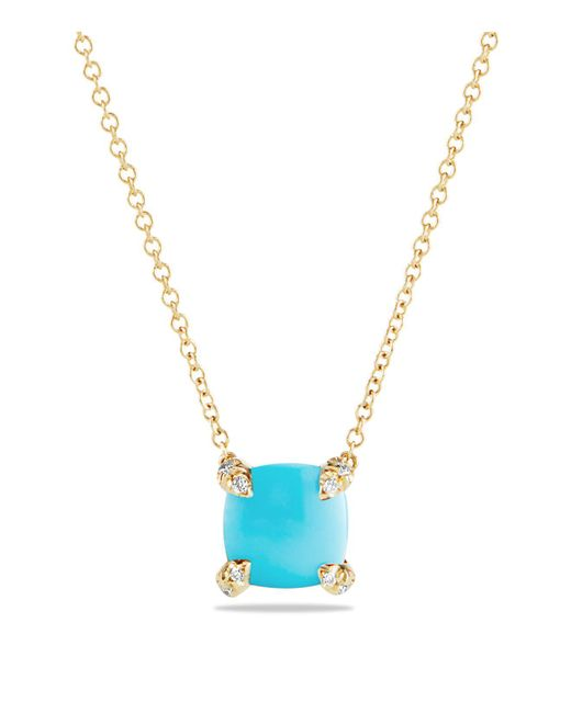 David Yurman | Metallic Châtelaine Pendant Necklace With Turquoise And Diamonds In 18k Gold | Lyst