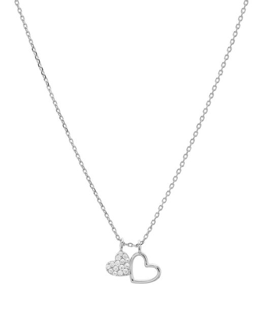 Aqua Metallic Double Heart Pendant Necklace In 14k Gold - Plated Sterling Silver Or Sterling Silver