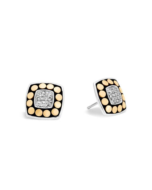 John Hardy - Metallic 18k Yellow Gold And Sterling Silver Dot Stud Earrings With Diamonds - Lyst