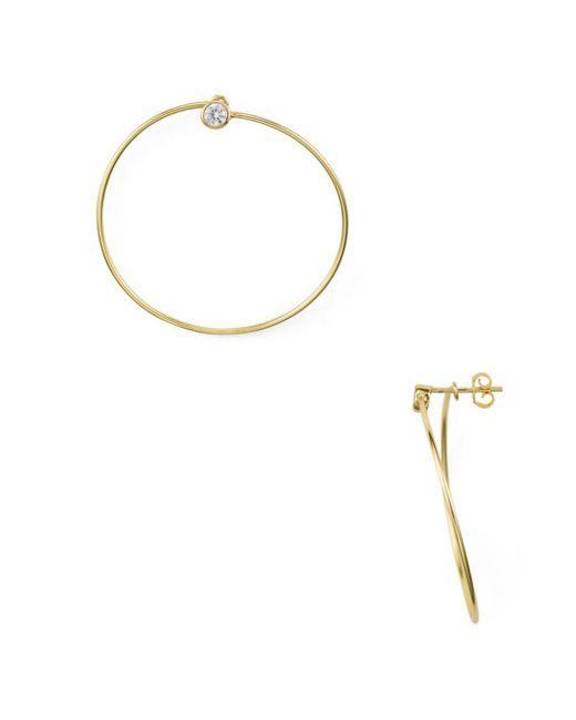 Aqua - Metallic Pavé Loop Drop Earrings - Lyst