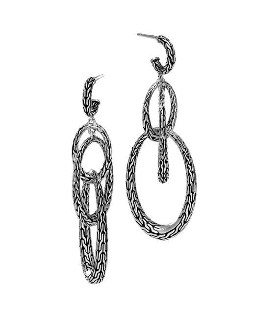 John Hardy   Metallic Sterling Silver Classic Chain Drop Earrings   Lyst