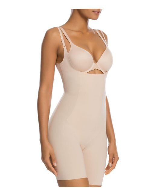 Spanx | Natural Thinstincts Open-bust Mid-thigh Bodysuit | Lyst