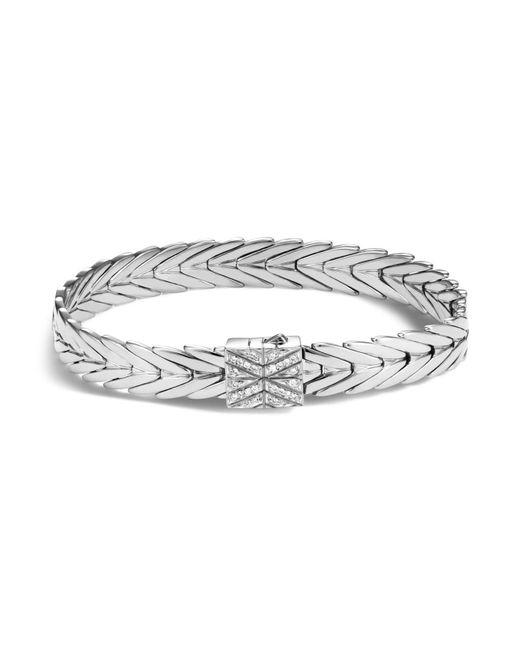 John Hardy | Metallic Sterling Silver Modern Chain Bracelet With Diamonds | Lyst