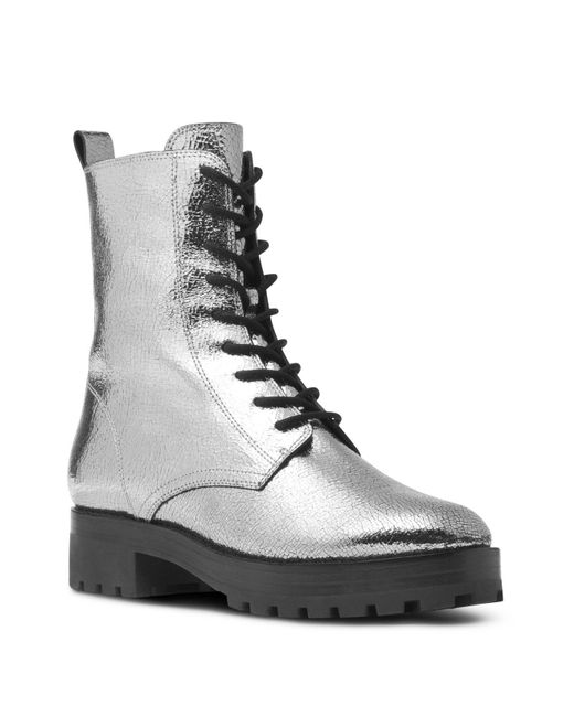 Michael Kors | Collection Women's Gita Crackled Metallic Leather Combat Booties | Lyst