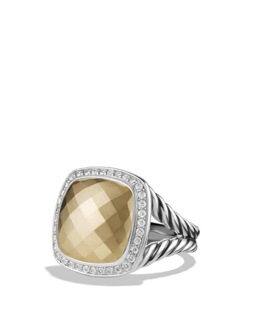 David Yurman - Metallic 'albion' Ring With 18k Gold Dome And Diamonds - Lyst