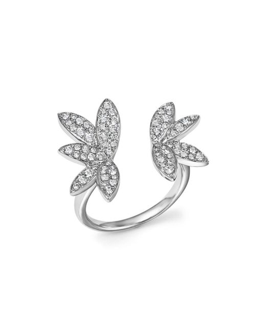 Bloomingdale's - Diamond Open Leaf Ring In 14k White Gold, .60 Ct. T.w. - Lyst