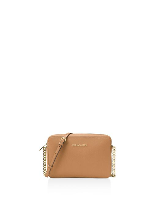 MICHAEL Michael Kors - Brown Jet Set Large Saffiano Leather Crossbody - Lyst