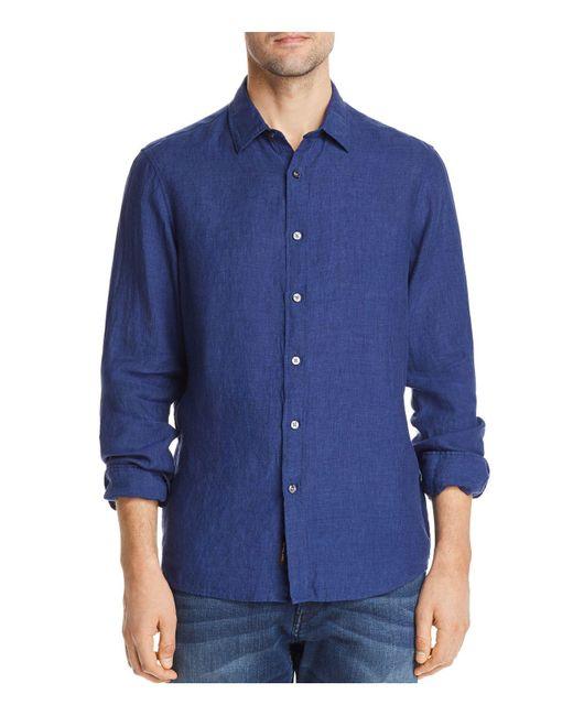 Michael Kors - Blue Cross Dye Linen Long Sleeve Button-down Shirt for Men - Lyst