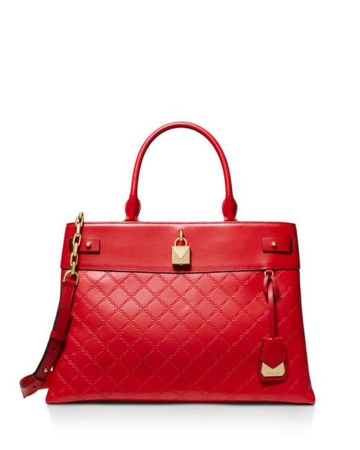 8c1b7de0aa76b MICHAEL Michael Kors Large Gramercy Leather Satchel in Red - Save 20 ...