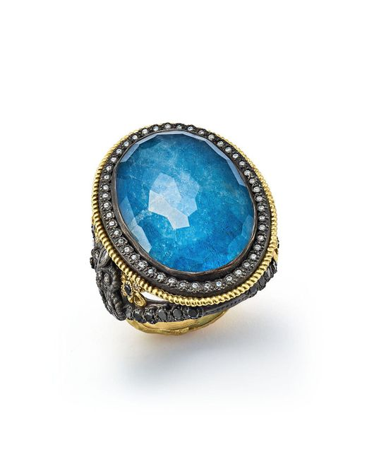 Armenta - Blue Diamond And White Sapphire Ring - Lyst