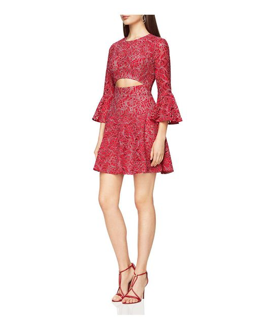 BCBGMAXAZRIA | Red Cutout Lace Dress | Lyst