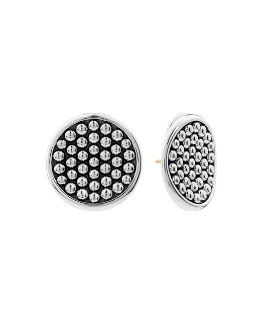 Lagos - Metallic Sterling Silver Bold Caviar Button Earrings - Lyst