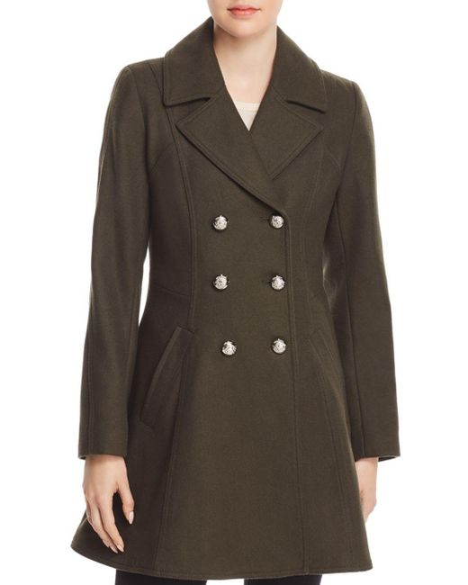 Laundry by Shelli Segal - Green Double-breasted Button Front Military Coat - Lyst