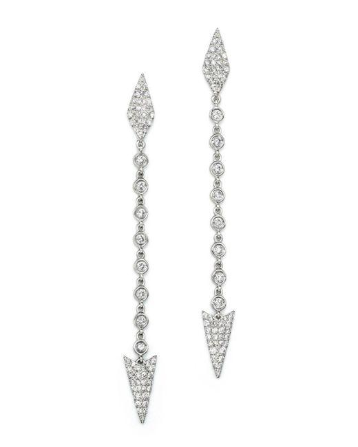 Meira T - Metallic 14k White Gold Diamond Arrow Drop Earrings - Lyst