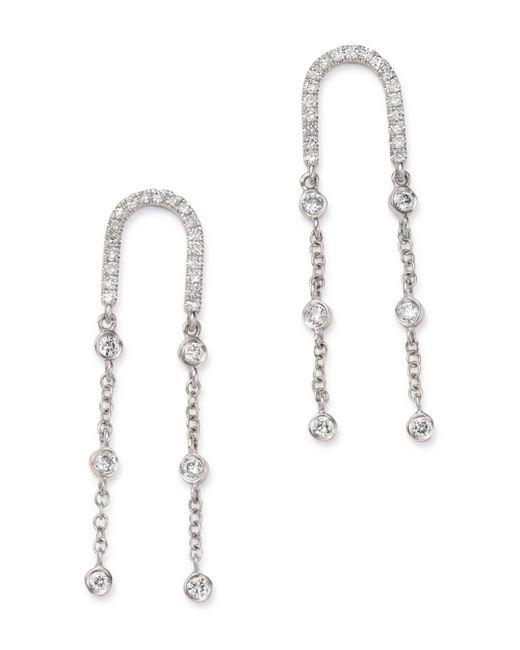 Meira T - 14k White Gold Diamond Curve Earrings - Lyst
