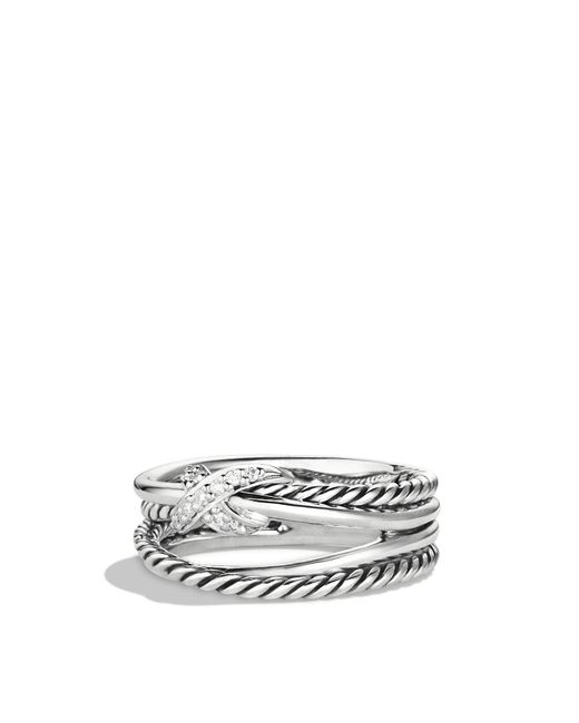 David Yurman - Metallic X Crossover Ring With Diamonds - Lyst
