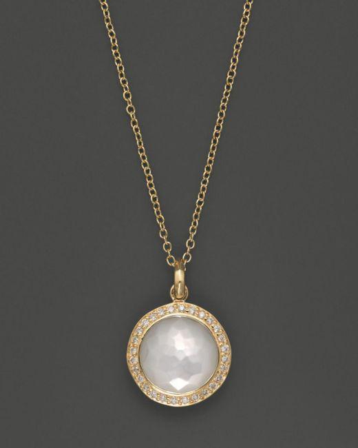 Ippolita - Metallic 18k Yellow Gold Mini Lollipop Pendant Necklace In Mother-of-pearl With Diamonds - Lyst