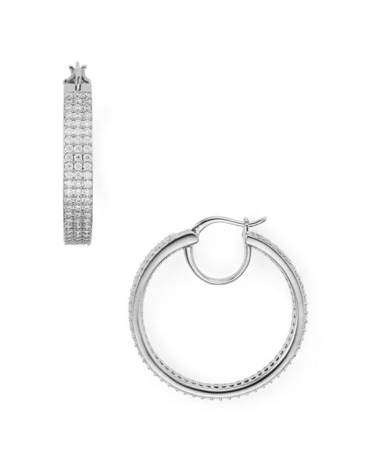Nadri - Metallic Three-row Hoop Earrings - Lyst