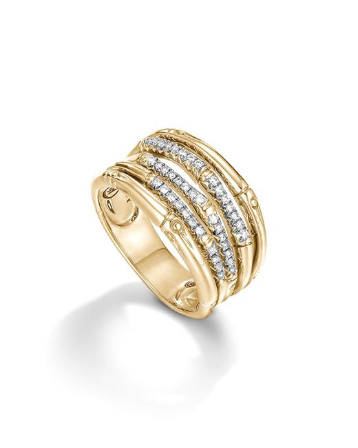 John Hardy - Metallic Bamboo 18k Yellow Gold Diamond Pavé Wide Ring - Lyst