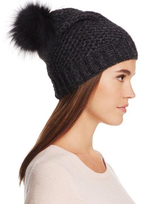 Inverni - Black Fur Pom-pom Slouchy Beanie - Lyst