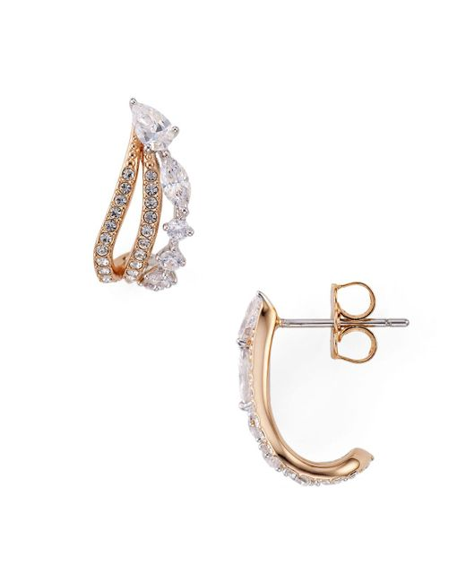 Nadri | Metallic Ivy Cubic Zirconia Small Hoop Earrings | Lyst