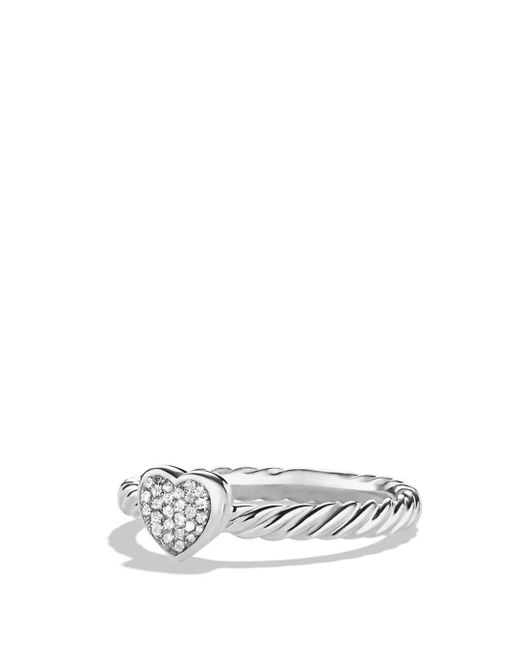 David Yurman - Metallic Cable Collectibles Heart Ring With Diamonds - Lyst