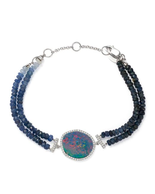 Meira T - Blue 14k White Gold Sapphire Beaded Bracelet With Opal And Diamonds - Lyst
