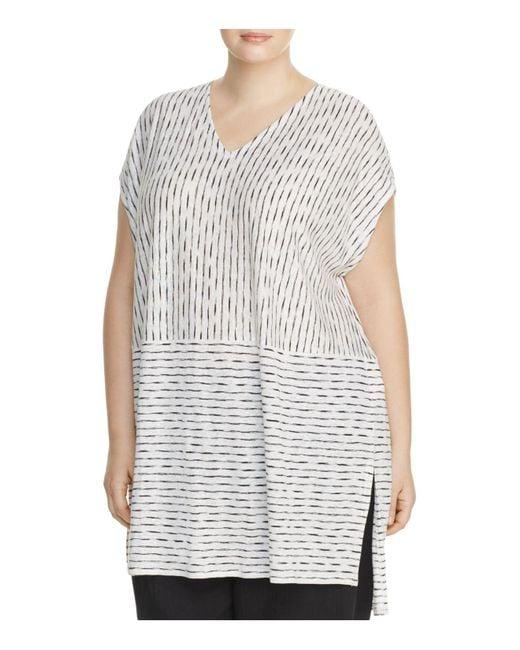 Eileen Fisher   White Line Print Tunic   Lyst